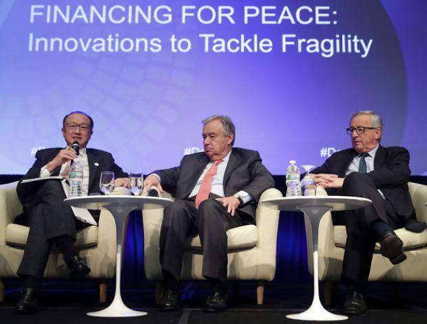 World Bank Group President Jim Yong Kim, United Nations Secretary General Antonio Guterres and European Commission President Jean-Claude Juncker