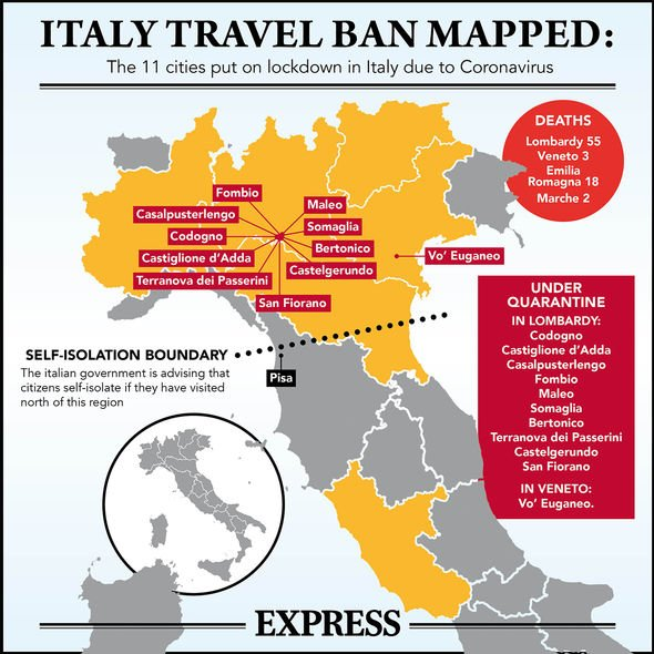 Coronavirus Italy MAP: The 11 towns Britons banned from travelling ...