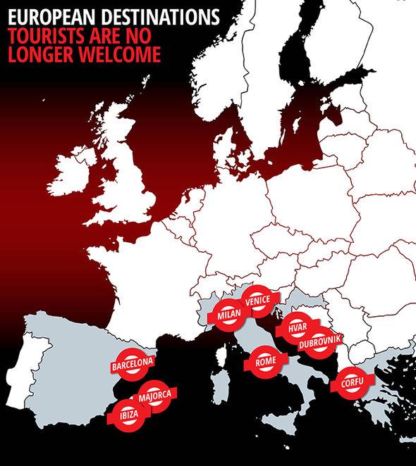 holidays Europe 2017 anti tourism map Spain Italy Croatia