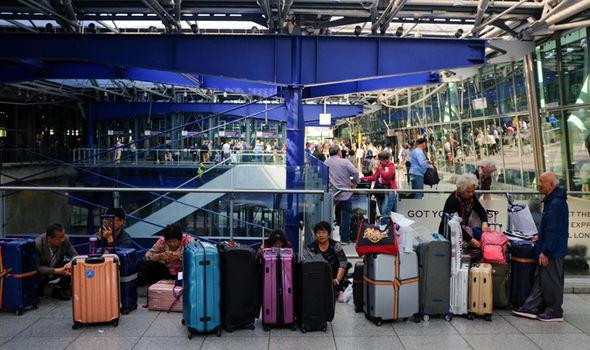 Passengers waiting to board a flight