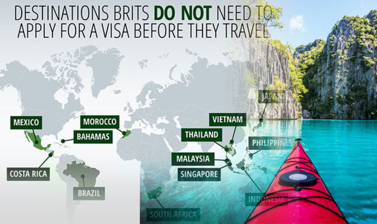 Visa abroad Countries where Brits dont need a visa  Travel News  Travel  Expresscouk