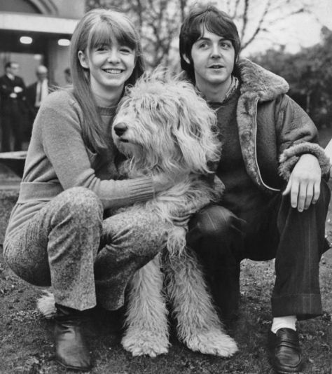 Paul McCartney and Jane Asher with dog Margot in 1967