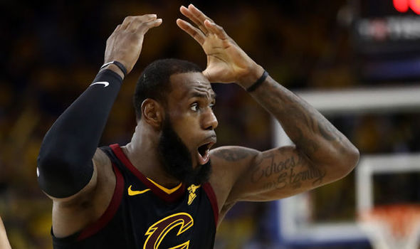 Lebron James reacts to the referees overturning a charge call against Kevin Durant in Game 1 of the NBA Finals of the Cleveland Cavaliers vs. the Golden State Warriors