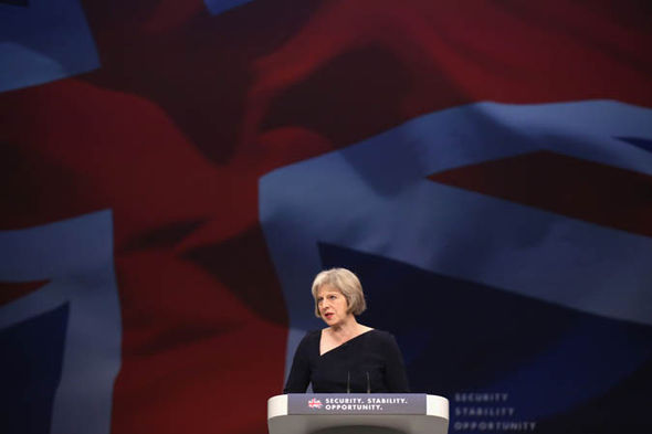 Theresa May giving speech at Tory party conference