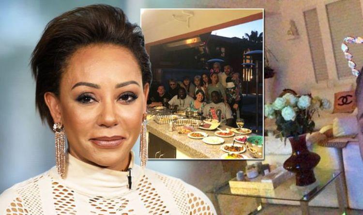 1139958 INSIDE lavish LA home of Mel B - Spice Girl boasts designer cushions from Chanel