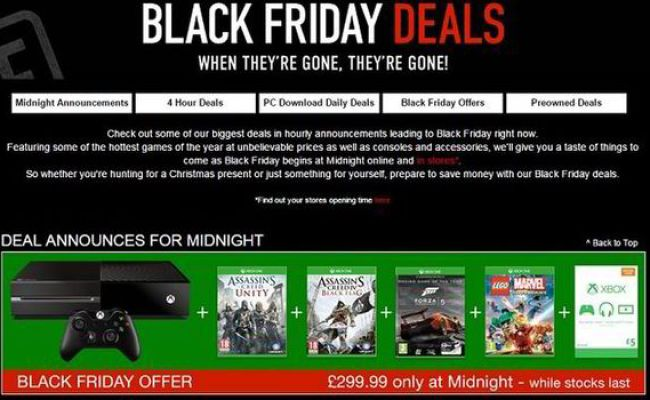 Black Friday Deals Game Offering Giant Xbox One And Ps4