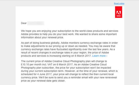 Adobe Creative Cloud price rise
