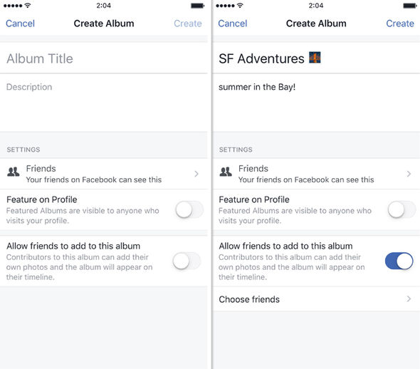 Facebook users can invite friends to contribute to a single shared photo album