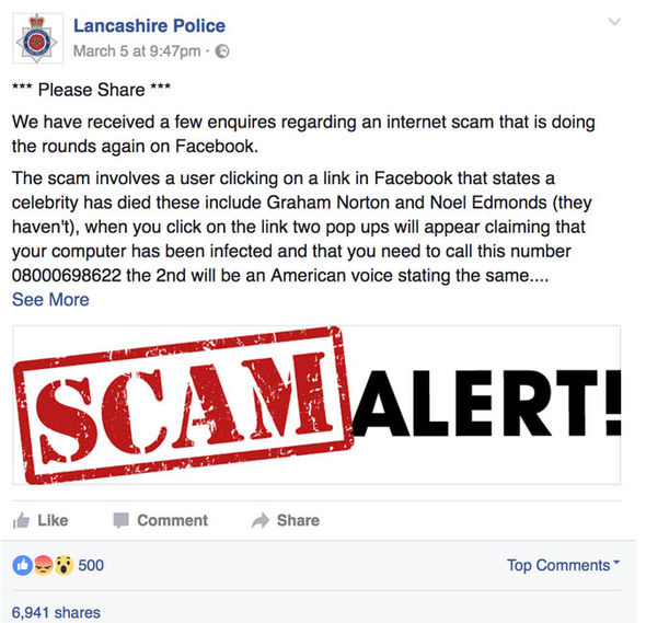 Lancashire Police issue Facebook scam warning