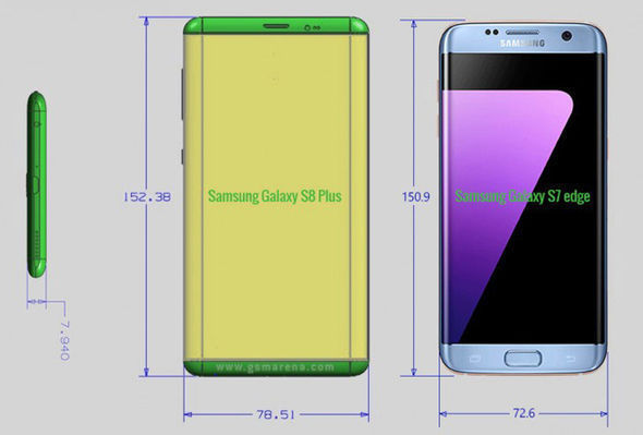 Leaked renders show the Galaxy S8 device with a 5.8inch screen - but the same footprint as the S7