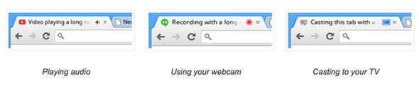 Chrome provides visual indicators whenever approved sites are accessing audio or video