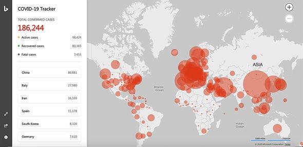Microsoft unveils coronavirus map to track the COVID-19 pandemic ...