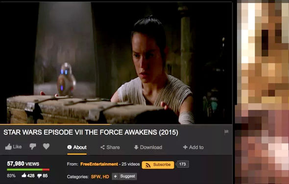 Star Wars The Force Awakens has been uploaded onto the xxx-rated website