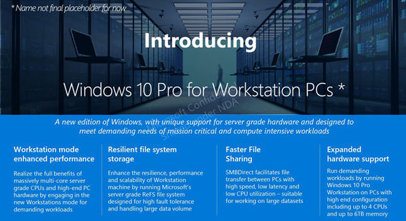 The internal presentation reveals a few details about the new Windows 10 variant
