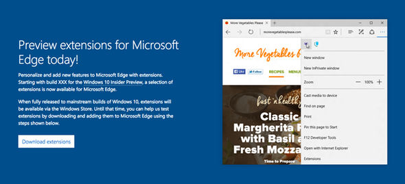 Microsoft briefly pushed out a new webpage which hints at the Microsoft Edge extensions