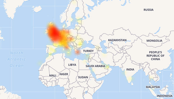 By tracking mentions across social media, DownDetector shows the outage across the UK and Europe