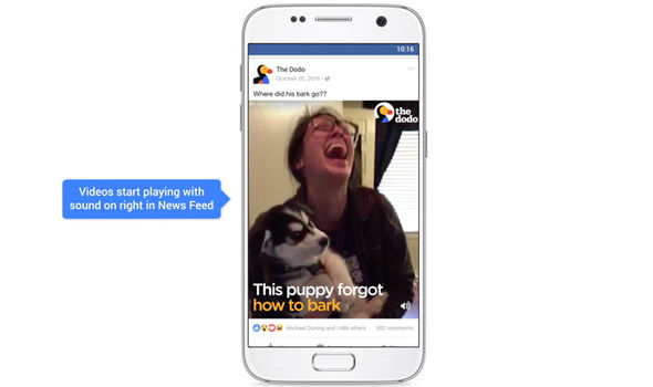 facebook autoplay video sound news feed