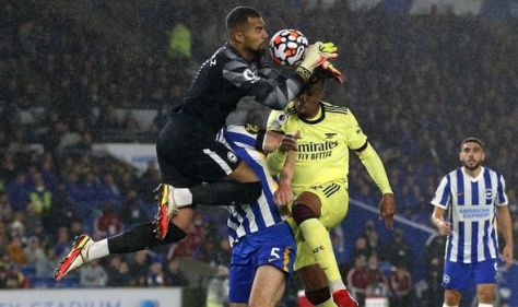 Arsenal star Gabriel has tooth knocked again in Brighton clash