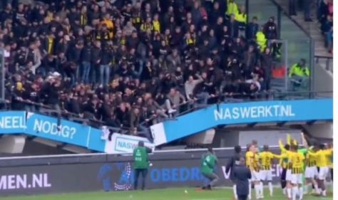 Stadium stand collapses as bouncing Vitesse fans plummet in front of applauding squad
