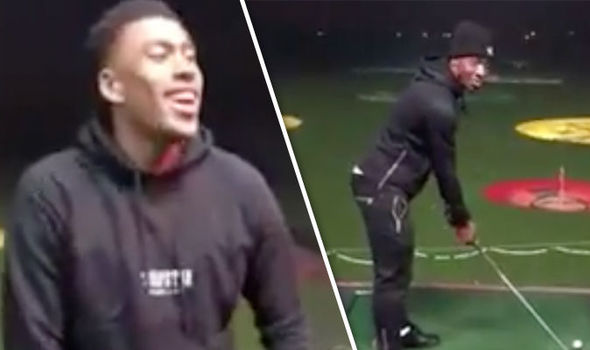 Alex Iwobi and Ola Aina at Top Golf
