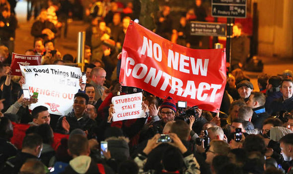 Arsenal fans staged a passionate protest prior to tonight's game