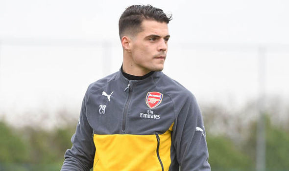 Arsenal midfielder Granit Xhaka in training