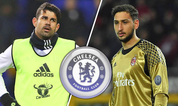 Diego Costa and Gianluigi Donnarumma at Chelsea