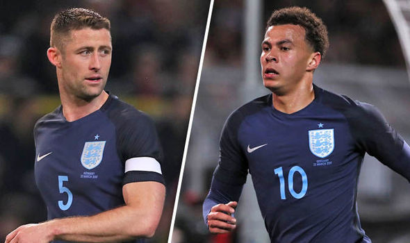 Gary Cahill and Dele Alli playing for England