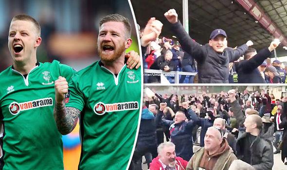 Lincoln FC fans celebrate
