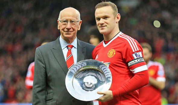 Sir Bobby Charlton and Wayne Rooney at Man Utd