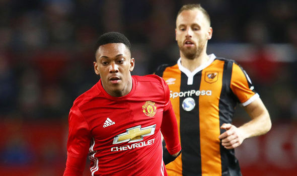 Anthony Martial in action for Manchester United against Hull
