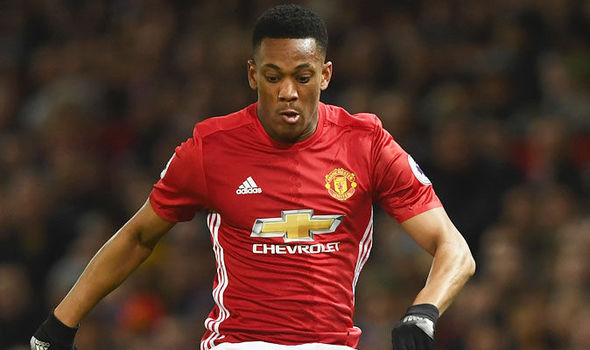 Anthony Martial in action for Manchester United against Liverpool