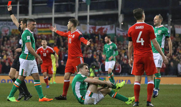 Seamus Coleman injury in Ireland v Wales