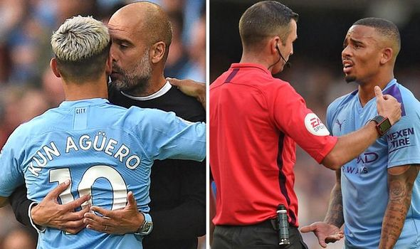 Sergio Aguero appeared to apologise to Pep Guardiola after Gabriel Jesus found the net