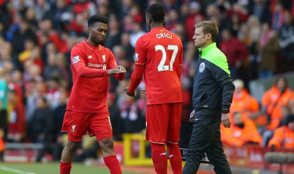 Daniel Sturridge coming off for Divock Origi during a Liverpool game