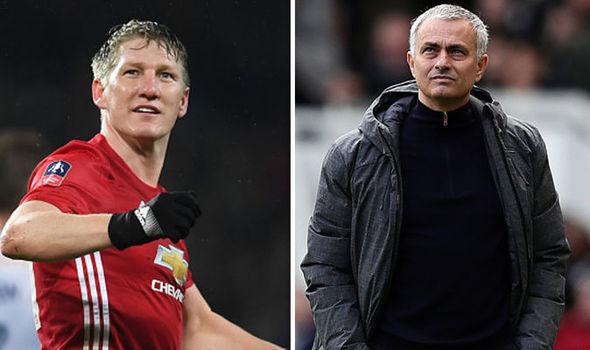 Bastian Schweinsteiger and Jose Mourinho