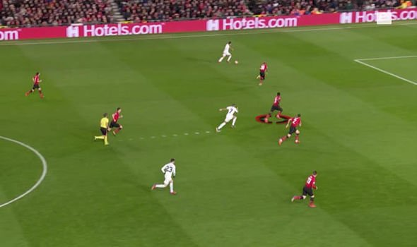 PSG striker Kylian Mbappe started his run from deep for their second goal