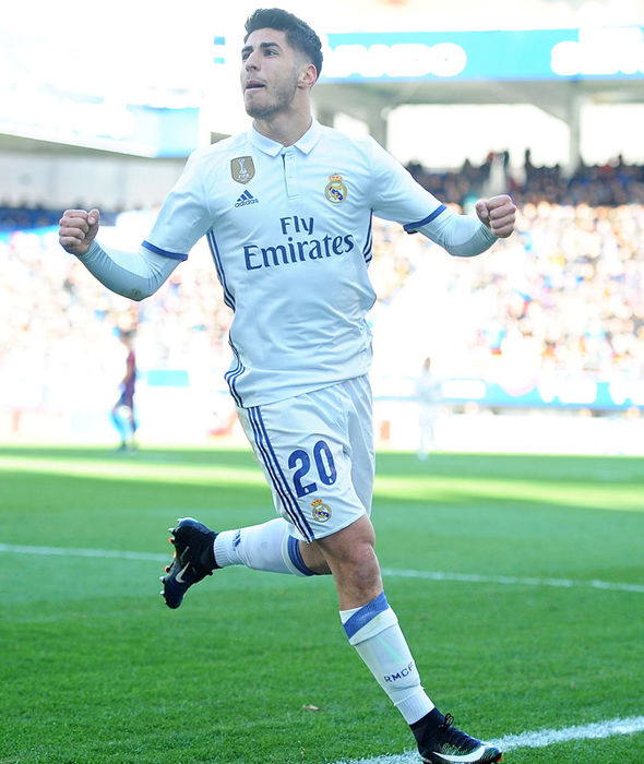 Marco Asensio celebrating scoring for Real Madrid against Eibar
