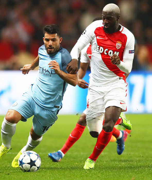 Tiemoue Bakayoko in Champions League action for Monaco against Manchester City