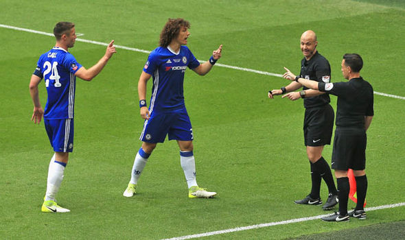 Chelsea players protested over the decision to let the goal stand