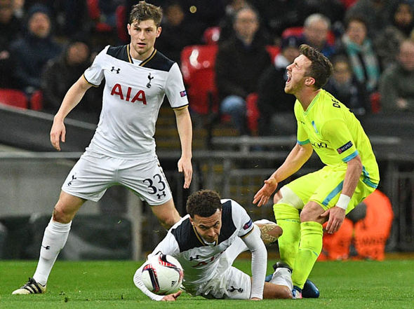 Dele Alli was shown a straight red for a horror challenge on Brecht Dejaegere
