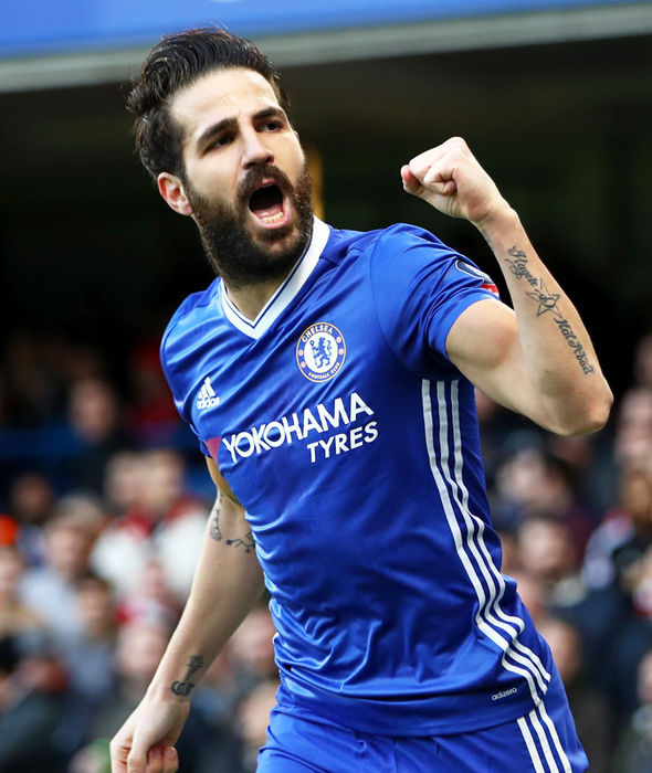 Cesc Fabregas scoring for Chelsea against Brentford