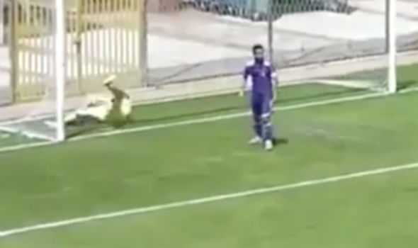 Goalkeeper tries to save mistake