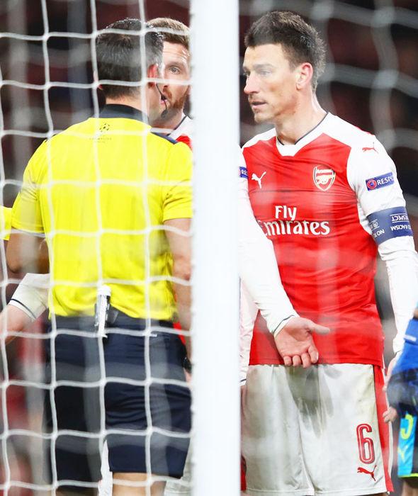Arsenal star Laurent Koscielny getting sent off against Bayern Munich