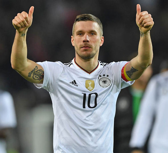 Lukas Podolski marked his final match for Germany with a thunderbolt strike