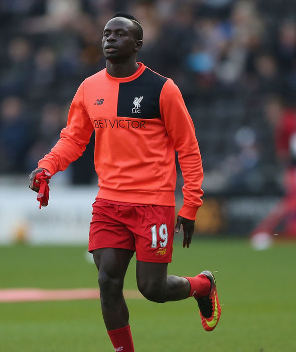 Sadio Mane warming up before Liverpool's game against Hull