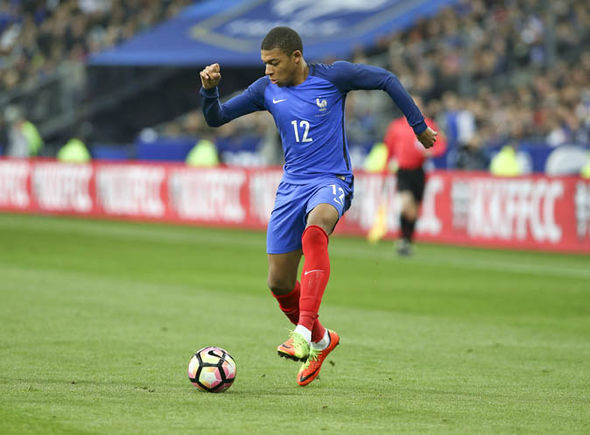 Kylian Mbappe playing for France