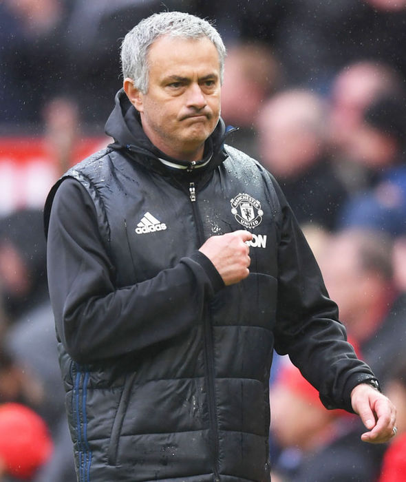 Jose Mourinho celebrates Manchester United's win over Chelsea