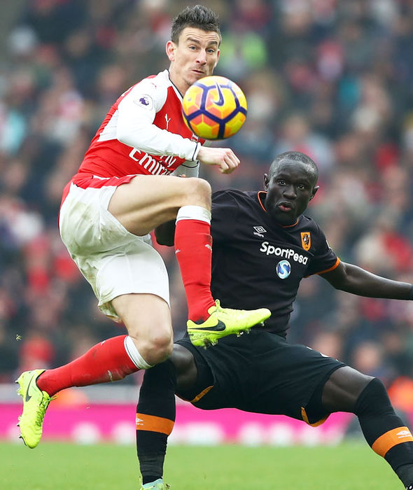 Laurent Koscielny in action for Arsenal against Hull