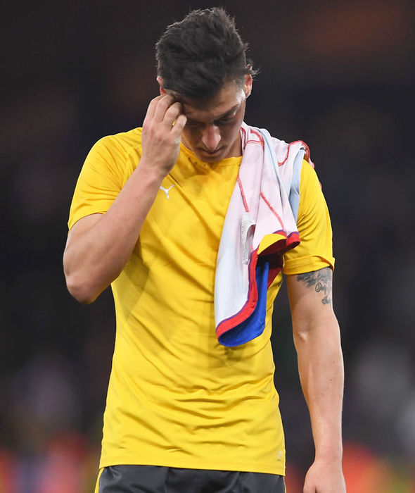 Mesut Ozil after Arsenal's defeat to Crystal Palace on Monday
